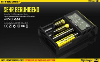 Nitecore Digicharger D4 - AAA, AA, RCR123, 18650er Lader