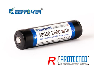 2er Set Keeppower 2600mAh 15A 18650er protected (Sony Konion Zelle)