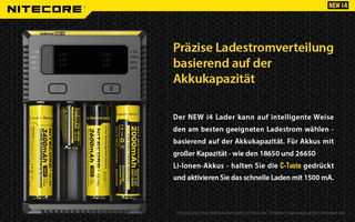 Nitecore Intellicharge New i4 - AAA, AA, RCR123, 18650er Lader